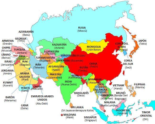 Paises Y Capitales Del Mundo Con Imagenes Mapa De Asia Mapa