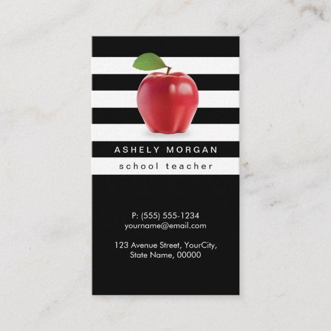 School Teacher Apple Elegant Black White Stripes Business Card Zazzle Com Striped Business Card Teacher Business Cards Teacher Apple