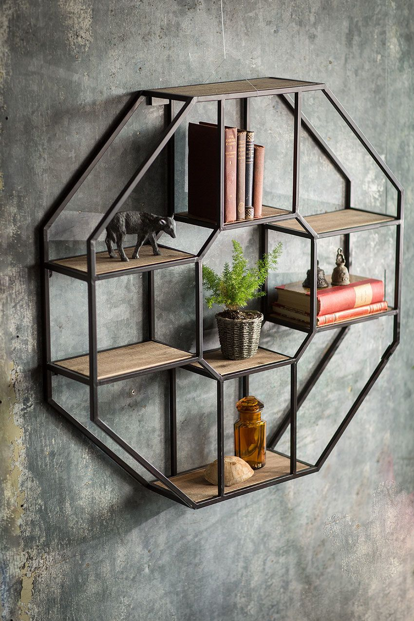 excellent wood metal furniture designs | Iron and Wood Hexagonal Shelf | Decor, Wood wall shelf ...