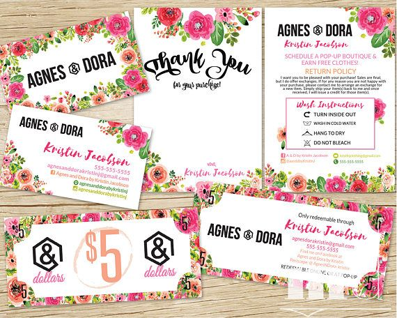 Agnes And Dora Marketing Kit Business Card Thank You Care Card