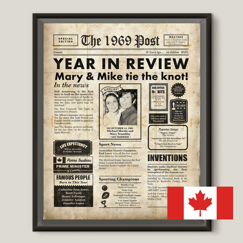 Canadian 50th Anniversary Gift For Parents Newspaper Poster Etsy Anniversary Gifts For Parents 50th Anniversary Gifts Anniversary Gifts For Husband