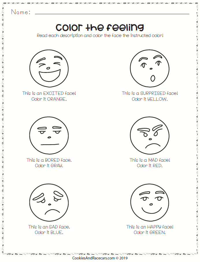 Color The Feelings Worksheet Free In The Prek Emotions Worksheet Pack Six Worksheets Include Matchi Feelings Preschool Emotions Activities Emotions Preschool