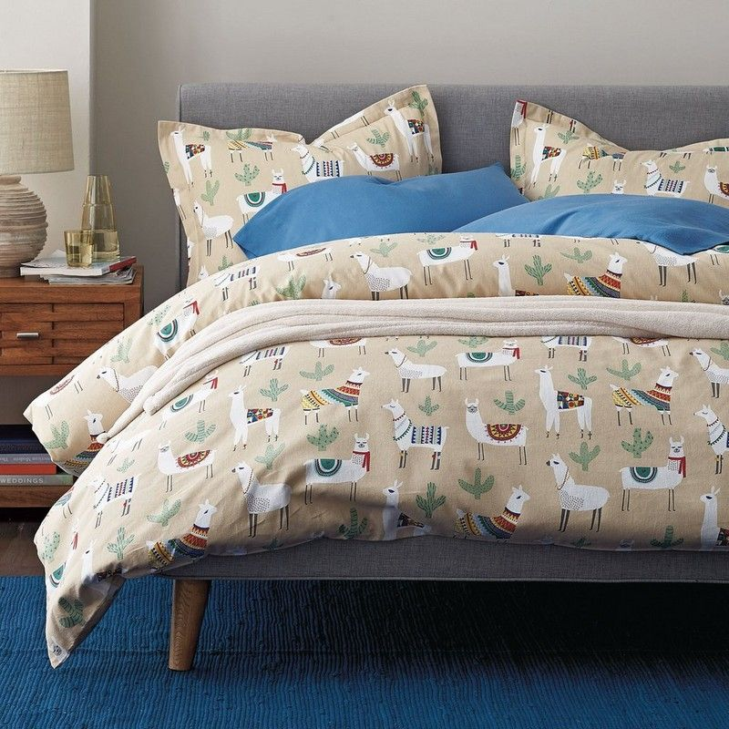 Llama Land 5 Oz Flannel Duvet Cover The Company Store Affordable Bedding Sets Flannel Duvet Cover Cute Duvet Covers