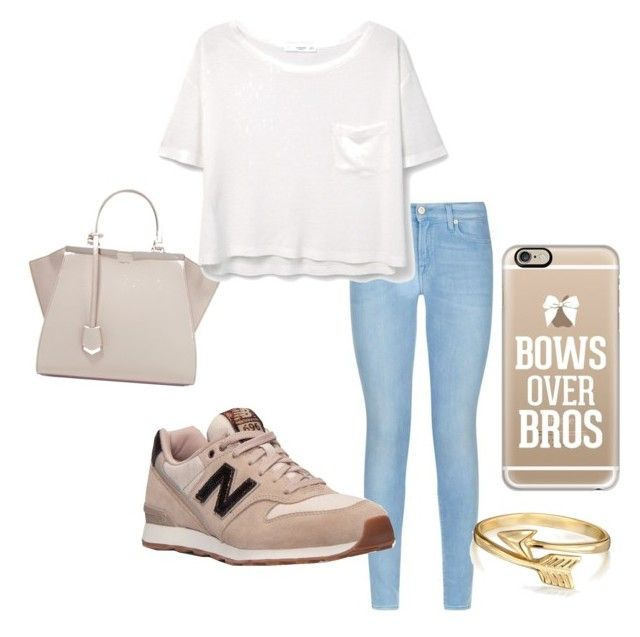 """""""Untitled #56"""" by faultbackgame2strong on Polyvore featuring 7 For All Mankind, New Balance, Fendi, MANGO, Casetify and Bling Jewelry"""