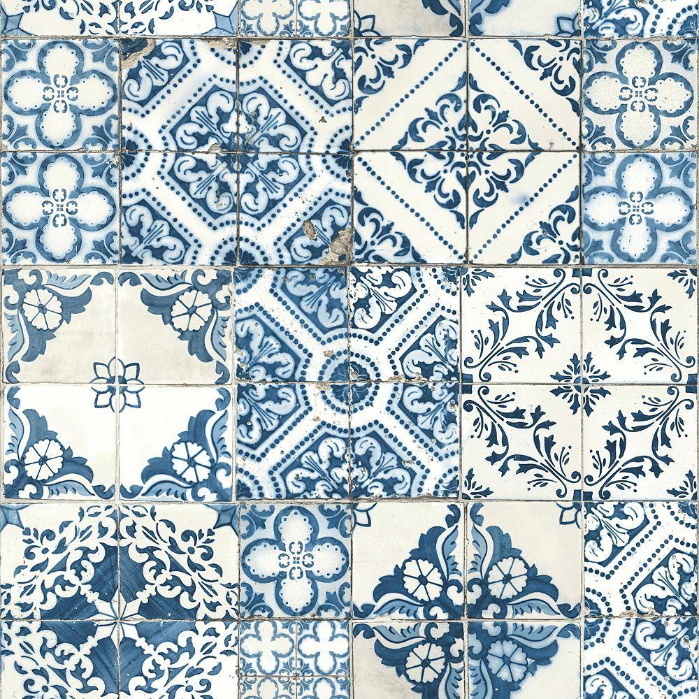 Roommates Mediterranean Tile Peel Stick Wallpaper The Home Depot Canada Blue Mosaic Tile Mediterranean Tile Mediterranean Decor