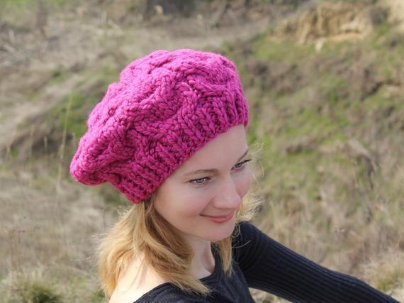 Women french beret women chunky beret hat hot pink beret women knit beret  wool women beret women pin 88d75753aa2