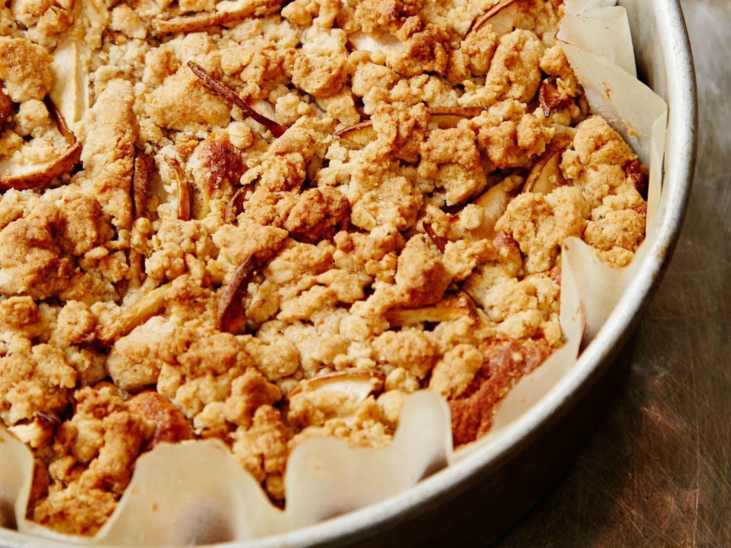 Dense, nutty, and sweet: this pear whole-wheat crumb cake works great for fall