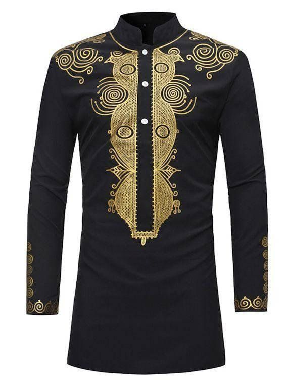 e32c847603de African men's wear. Gold embroidered black top. in 2019 | Products ...