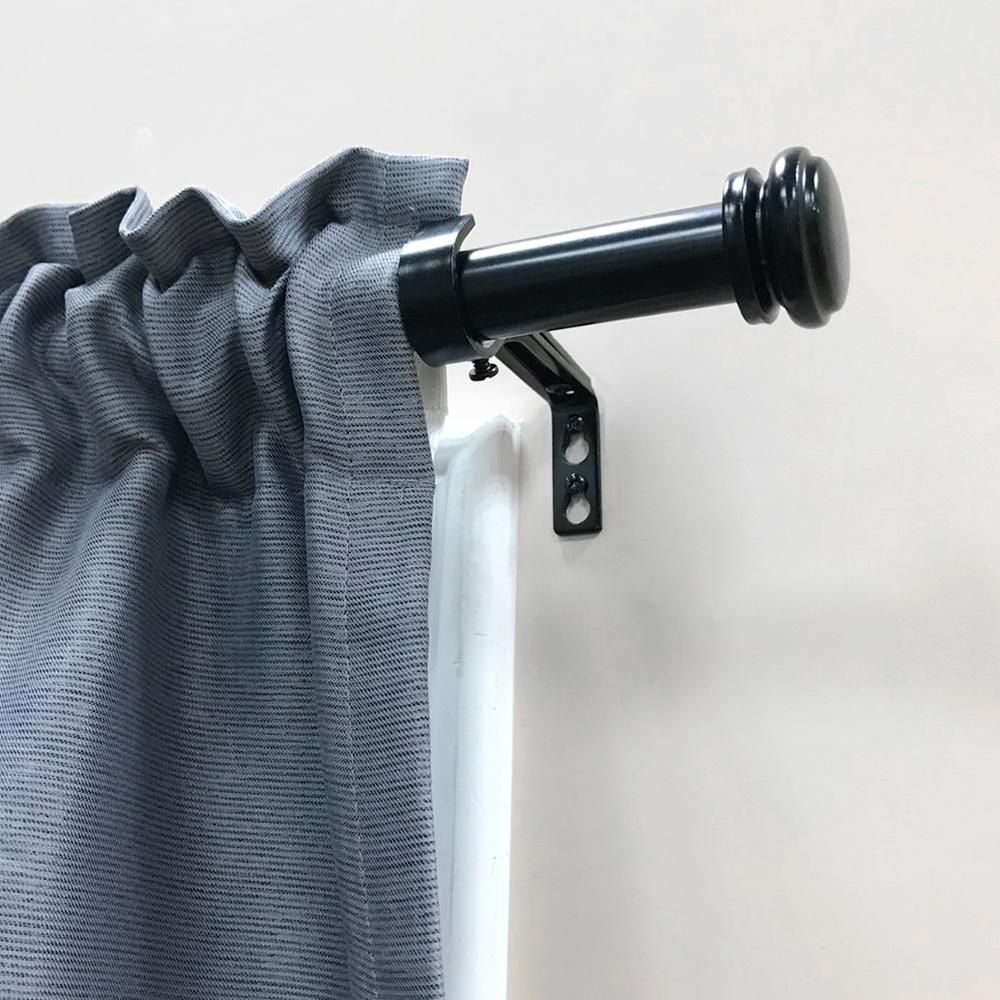 Home Decorators Collection Mix And Match 72 In L To 144 In L Telescoping 1 In Single Curtain Rod Kit In Matte Black Amb144fohj07 The Home Depot In 2020 Single Curtain