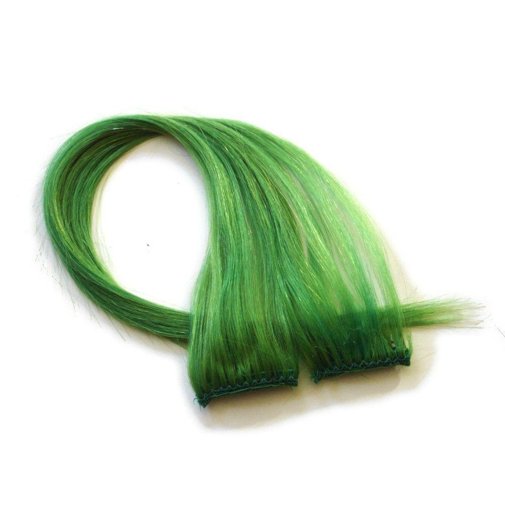 18 Clip In Human Hair Streaks Acid Green Green And Mint Hair
