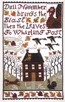 The Windows sampler worked in the same shades has a verse with houses and trees, fox, turkey and pumpkin.   Windows winking cheerful lights,  Warm the cold November nights.