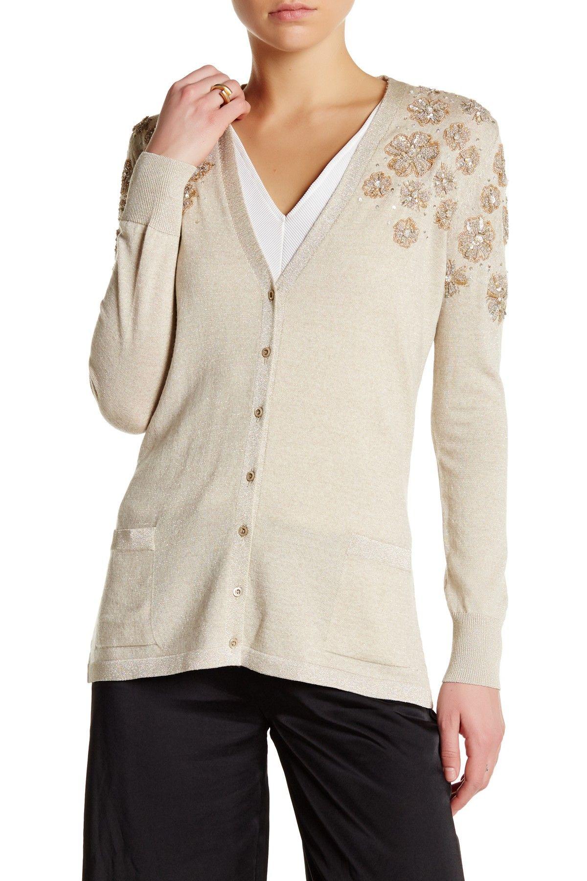 V-Neck Long Sleeve Floral Sequin Embellished Cardigan | Shops, V ...