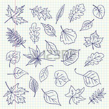 Freehand dessin feuilles d'automne articles sur une feuille de cahier d'exercices.