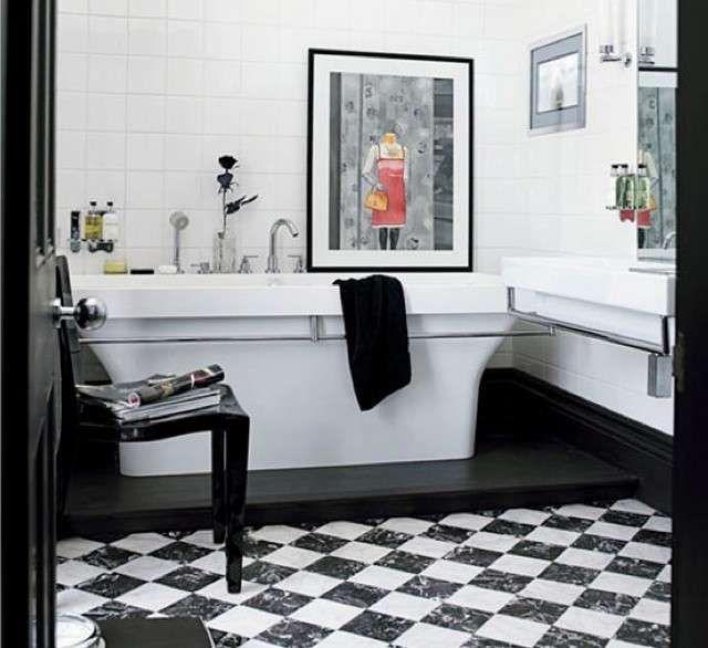 bagno bianco e nero - bagno classico bianco e nero