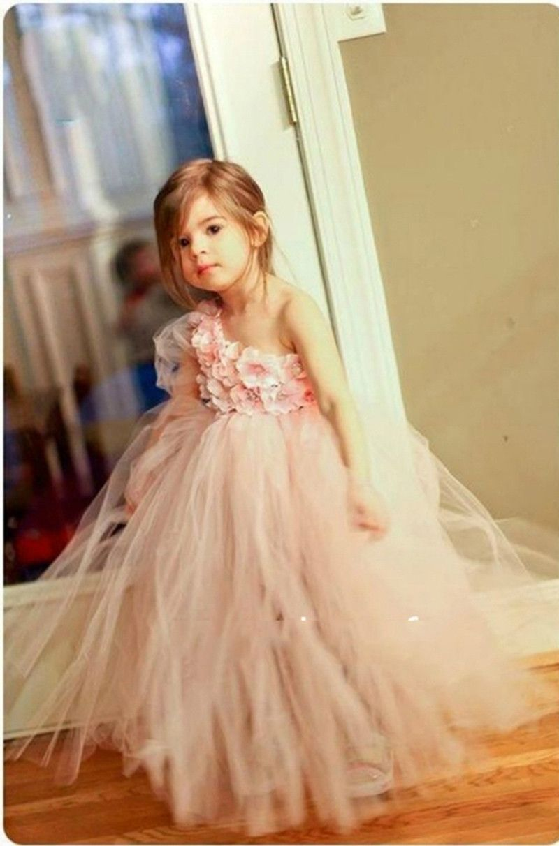 New fashion cute pink one shoulder ball gown flower girl dress puffy