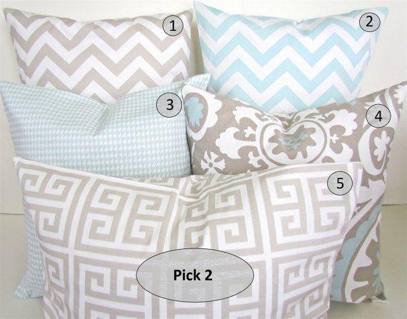 Decorative Pillows Set Pick 2 Tan 20x20 Light Blue Decorative Throw Pillows 20 X 20 Baby Blue Pil Decorative Pillow Sets Chevron Pillows Baby Throw Pillows