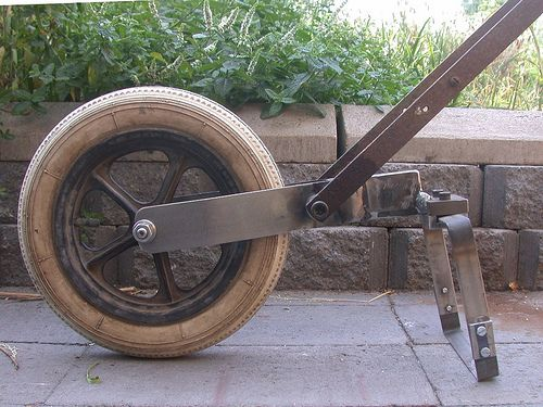 A Homemade wheel hoe. Not exactly the Planet Whizbang design, but Planet -Whizbang-inspired.