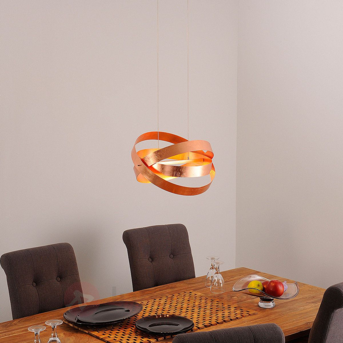 Suspension led cara finition en cuivre antique r f rence for Luminaire baroque