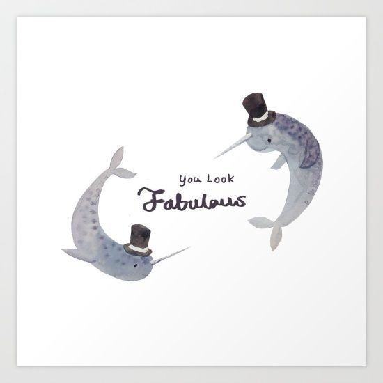 Narwhal Art Print by MiyaHuang | Society6