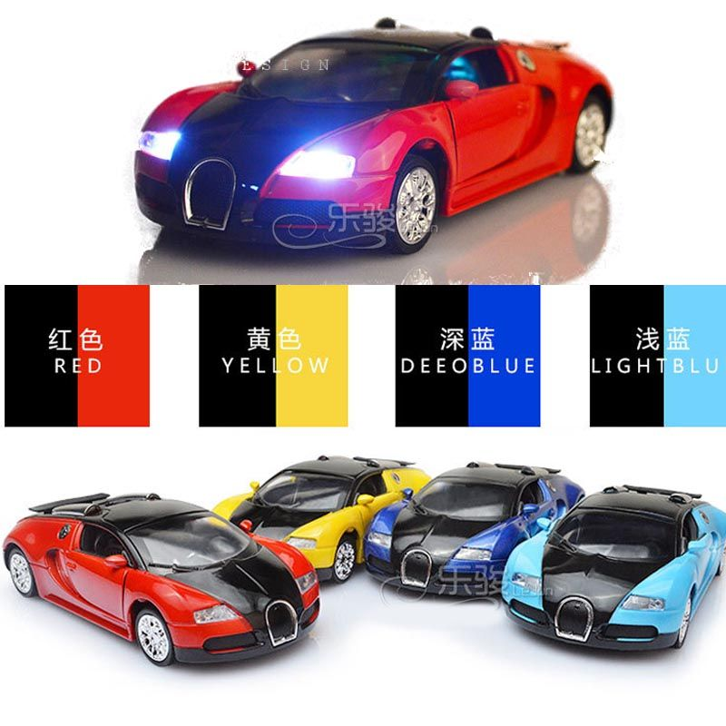 New Collectible Model Diecast Cars Bugatti Veyron Model Car 1:36 Alloy  Diecast Mini Pull Back Musical Sounds Toys Kids Gift