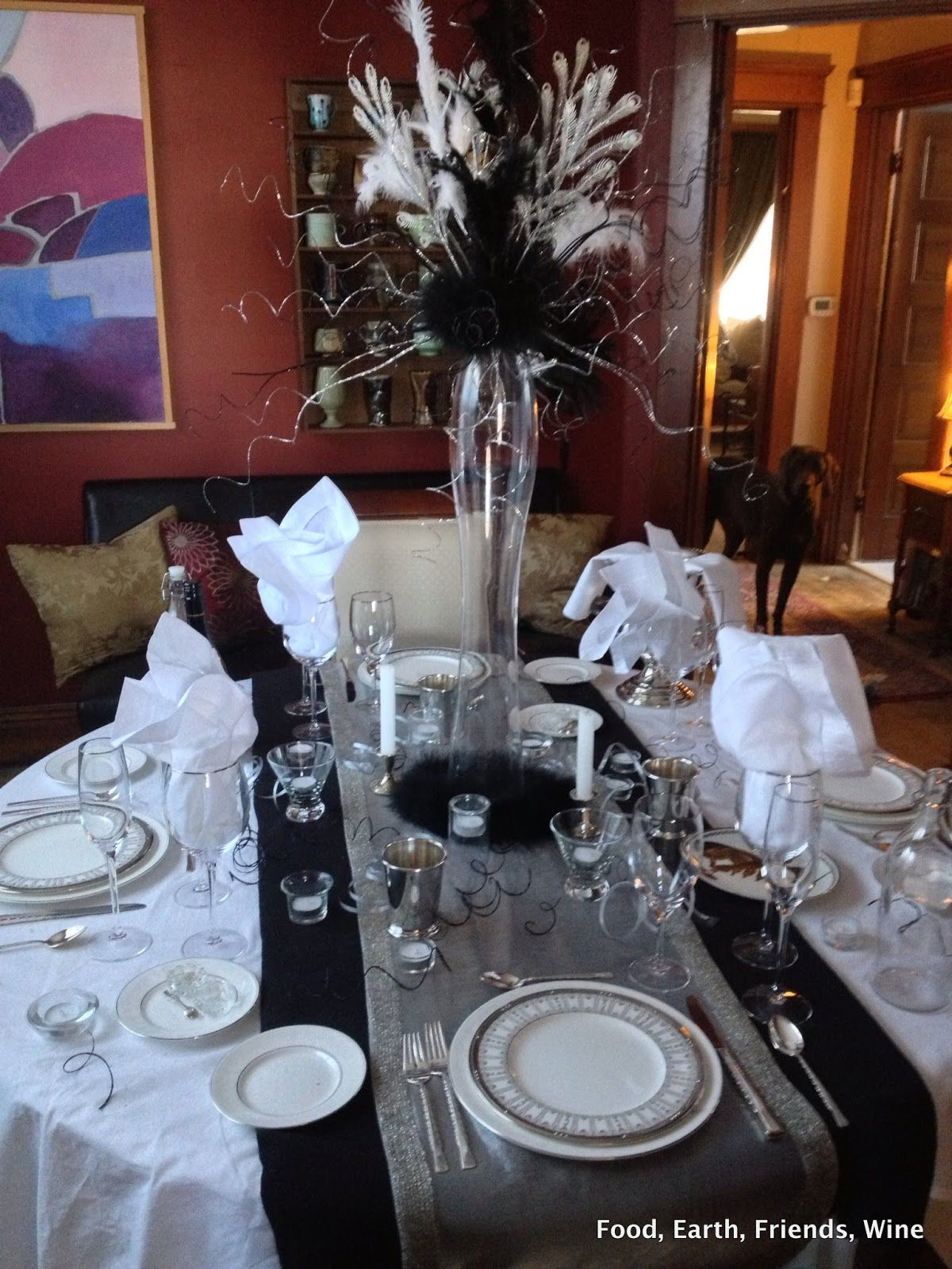 Black And White And Silver Table