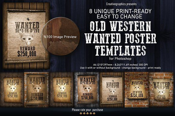 Old Western Wanted Poster Templates by Creative Graphics on - most wanted poster templates