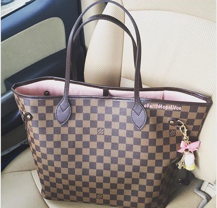 Louis Vuitton Neverfull Damier Ebene With Rose Ballerine Interior Louise Handbags Lv