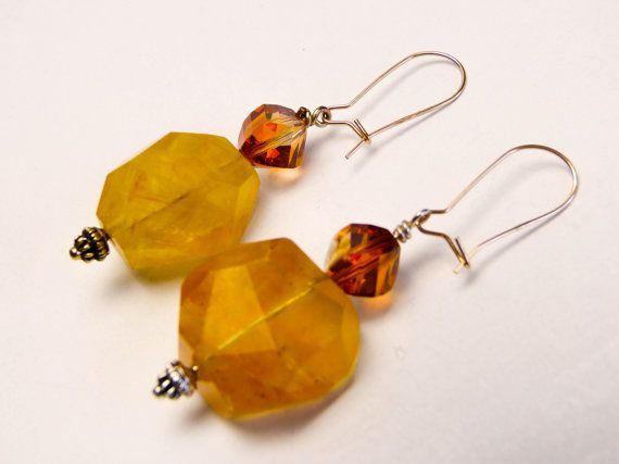 Large Citrine freeform faceted gemstones with by AtelierStephanie, $50.00