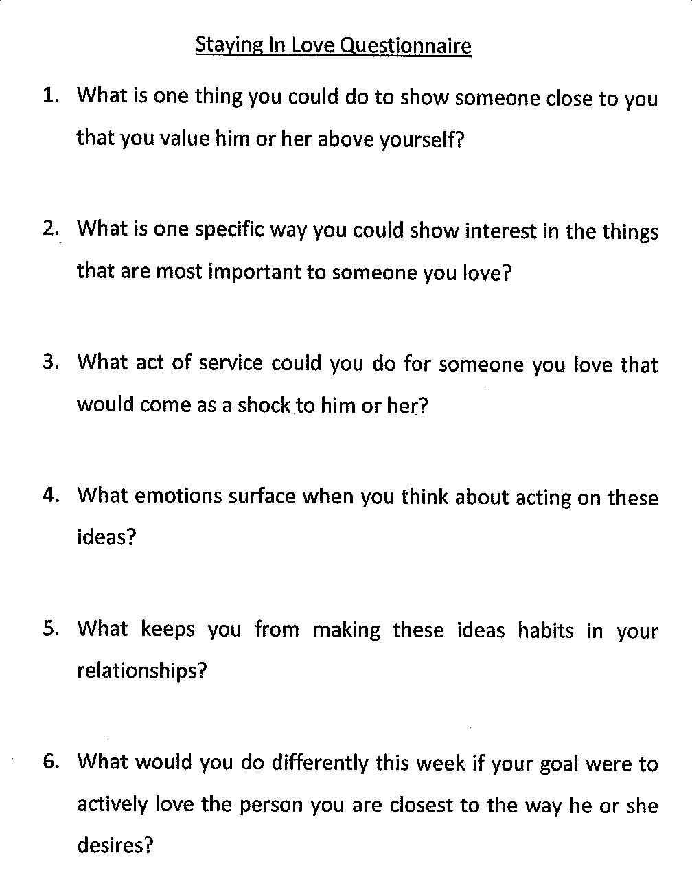 Love Questionnaire  Sample Questionnaires