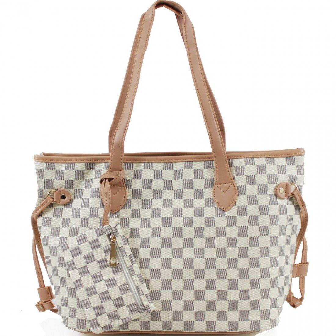 b63d4bc9759 Lets Shop' Louis Vuitton Inspired Tote Bag - White Check in 2019 ...