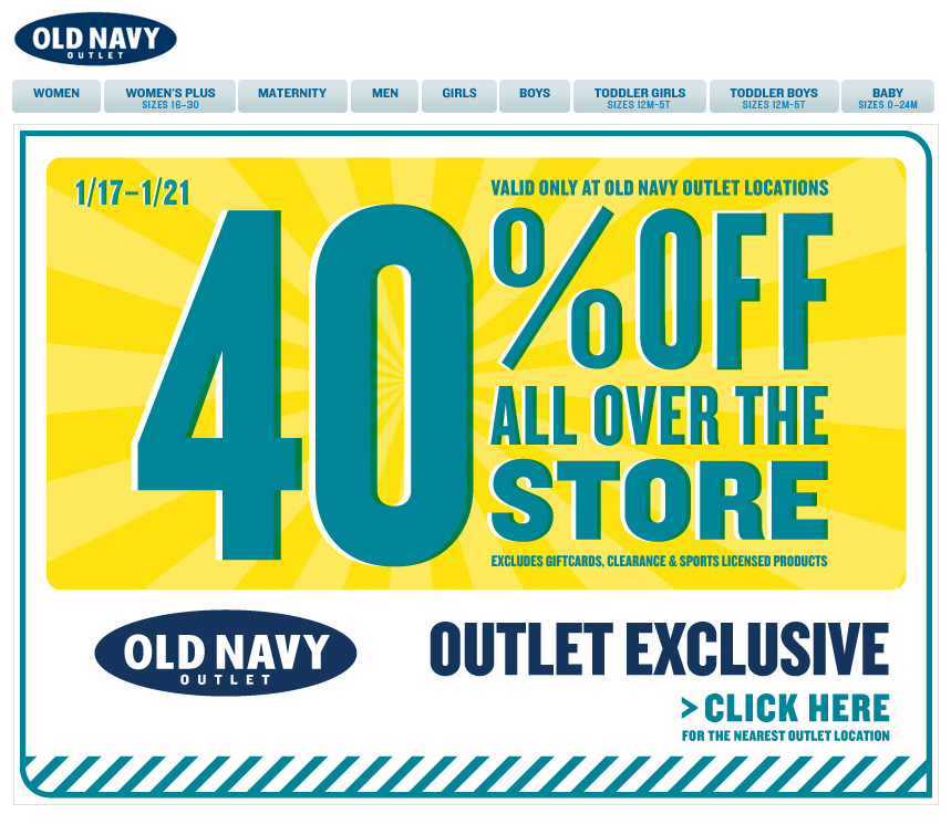 Extra 40 Off Everything At Old Navy Outlet Locations Coupon Via The Coupons App Coupon Apps Navy Shop Old Navy