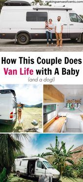 Photo of Giddi and Jace live in a van and travel full-time with their baby and dog. They …