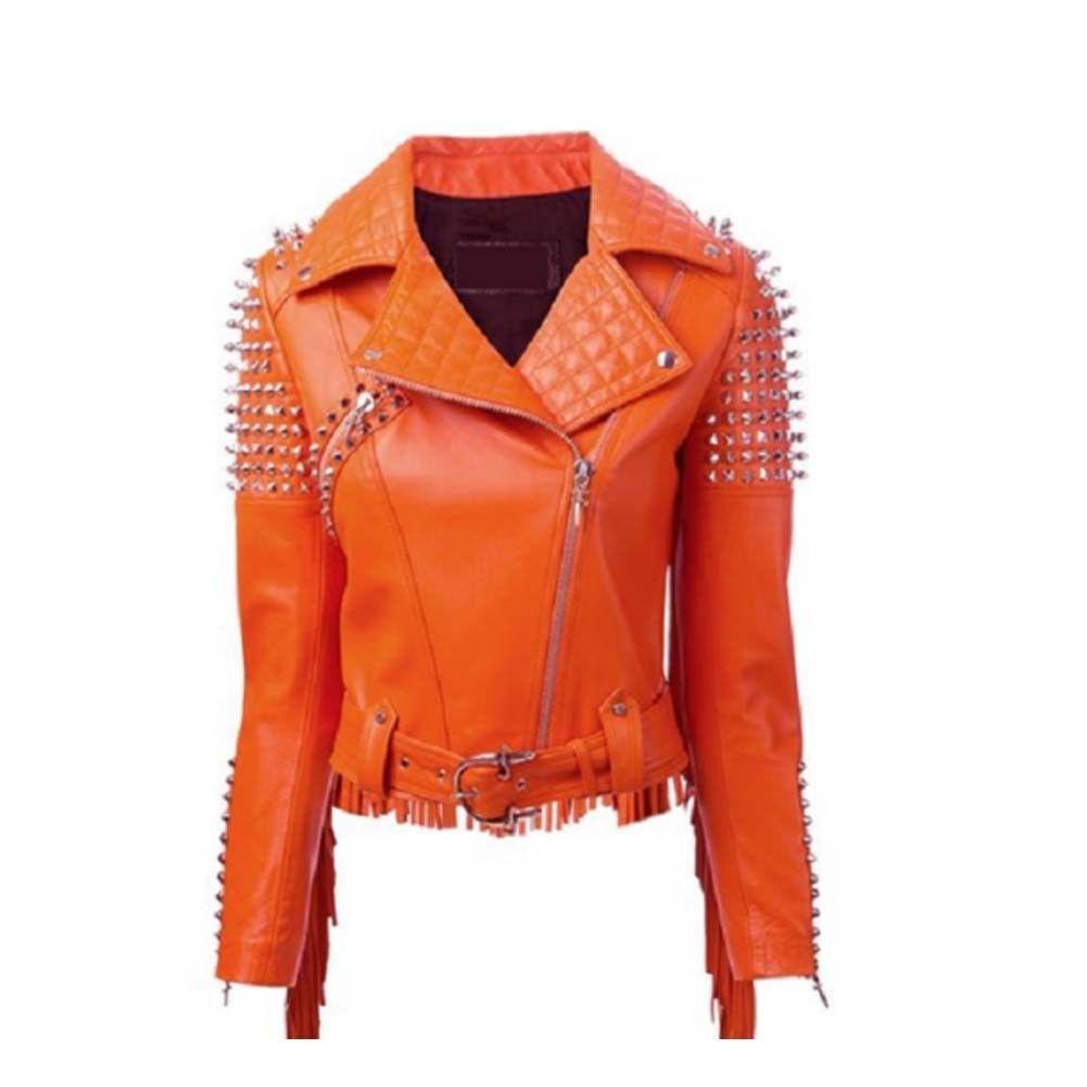Made To Order Handcrafted Western Style Women Fringes Studded Orange Leather Jacket Brando Orange Leather Jacket Leather Jacket Vintage Leather Jacket