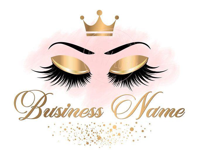 DIGITAL Custom logo design , lashes logo, crown lash beauty logo, makeup logo, gold lash logo design, gold elegant beauty logo, lashes gold -   11 makeup Logo cartoon ideas