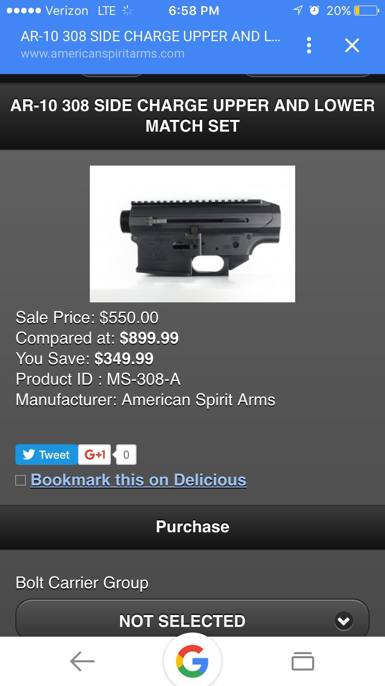 $900 for upper and lower receiver set side charging  No bcg