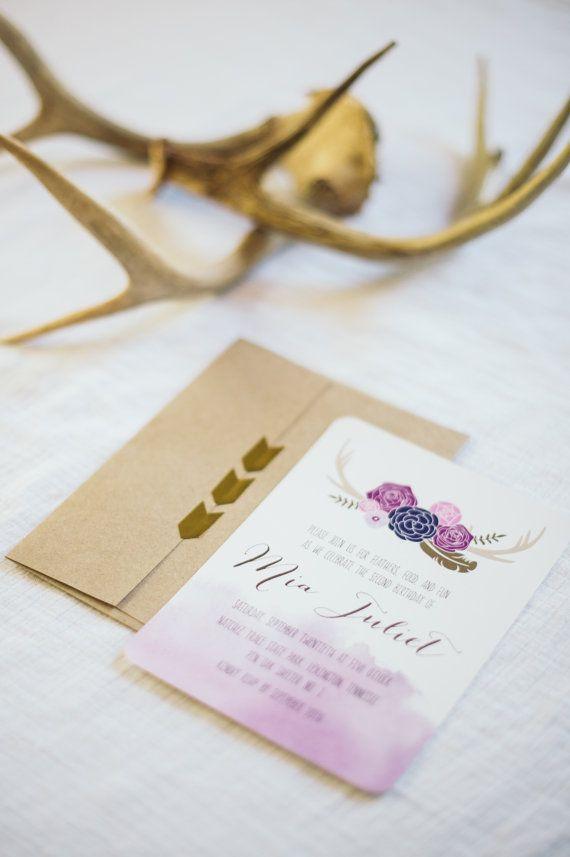 Printable Tribal Bohemian Birthday Invitation Floral