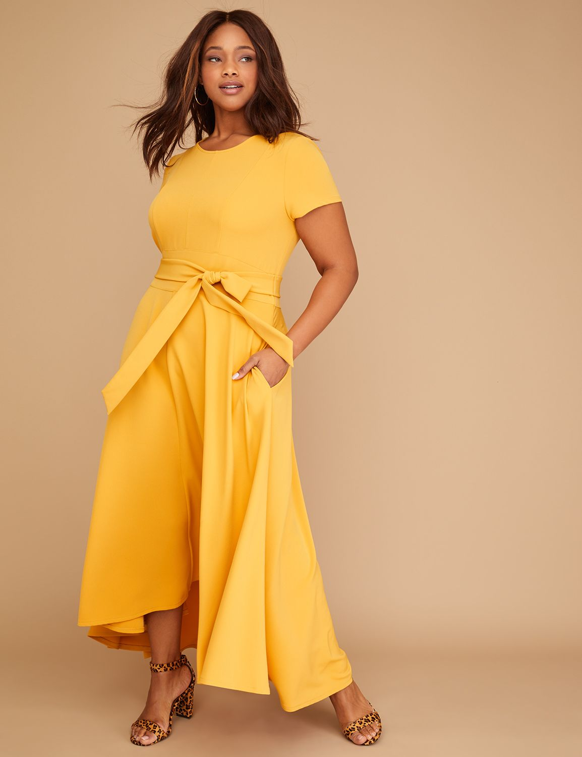 c63e5aa0453 Belted High-Low Maxi Dress