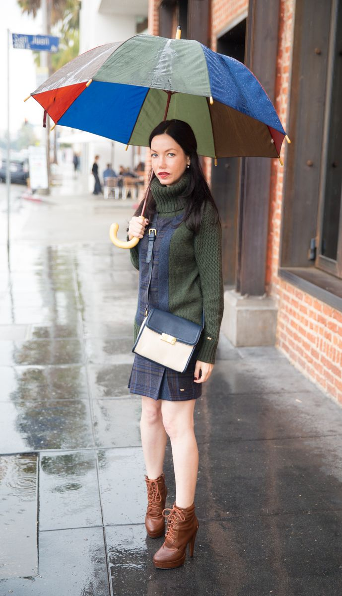 Tommy Hilfiger Sweater, Crossbody Bag, Matching Separates, Charles David Booties, Rainy Day Style, LA Life, Fashion Blogger