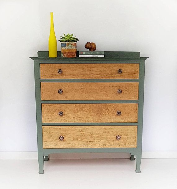 Best Rustic Chest Of Drawers Painted In Green Using Mineral 400 x 300