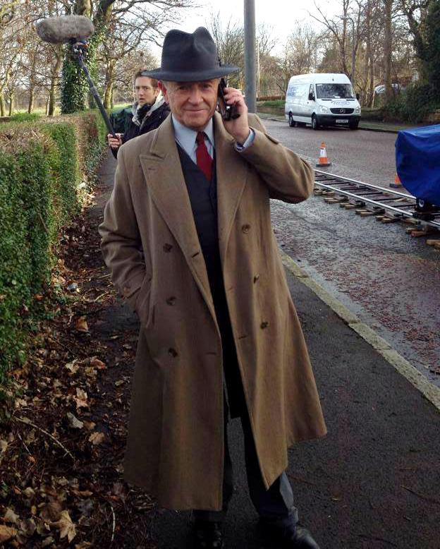 Michael Kitchen filming Foyle's War in Newsham Park