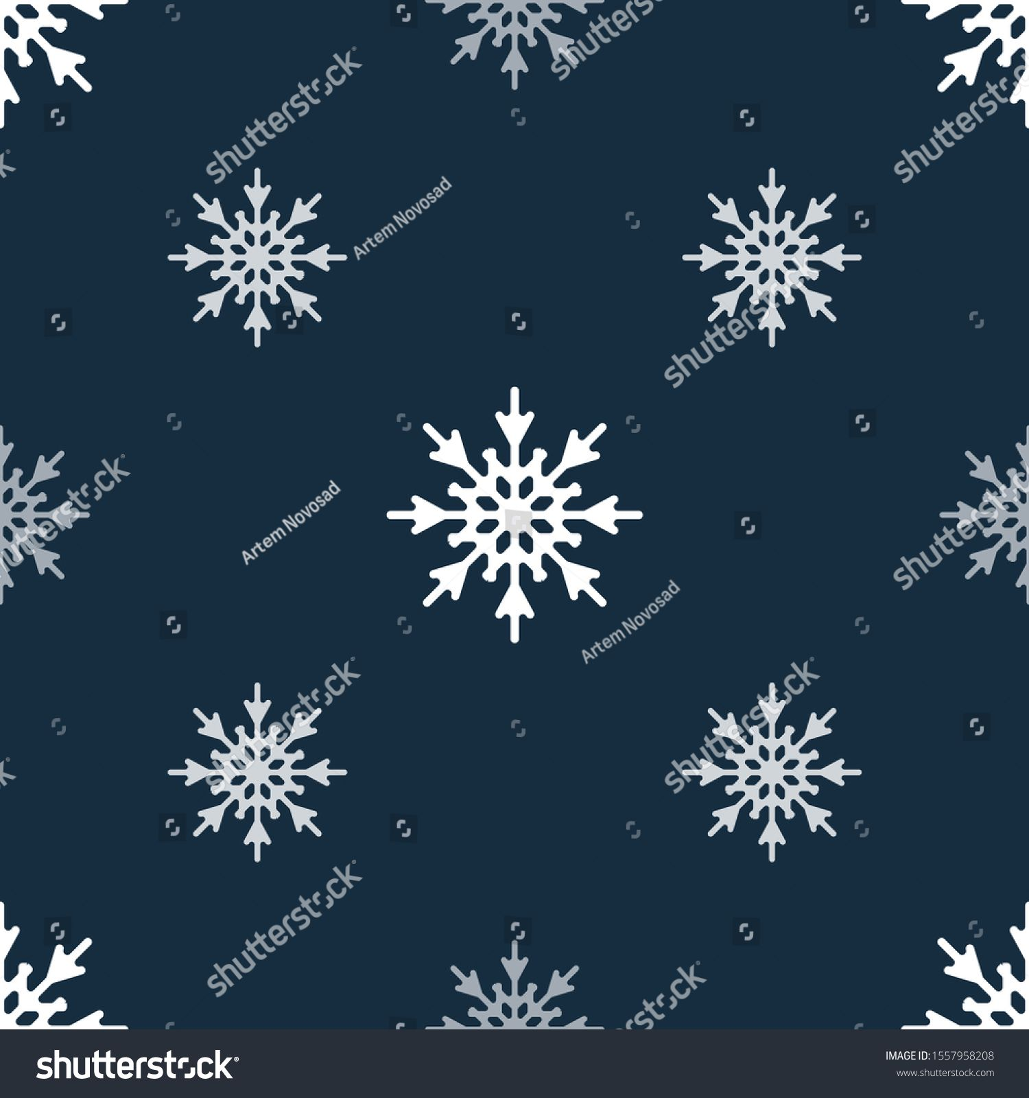 Seamless pattern with white snowflakes on a dark blue background. Snowflakes of different size and density. Vector illustration #Ad , #AFF, #snowflakes#dark#blue#Seamless