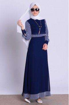 Sefamerve Kolyeli Elbise 52487 02 Lacivert Abaya Fashion Muslimah Dress Designer Dresses