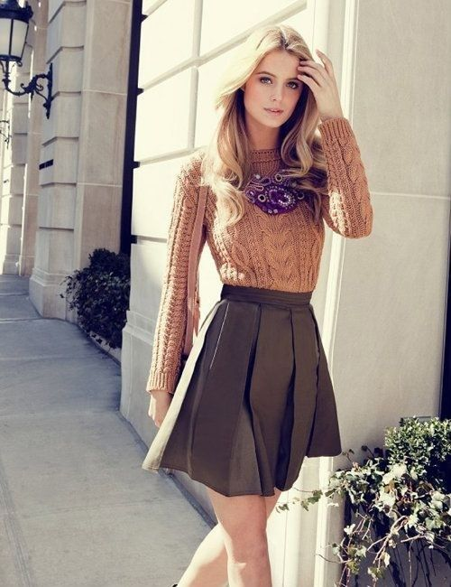 Fit and flair taupe A-line skirt and classic sweater | {Classic ...