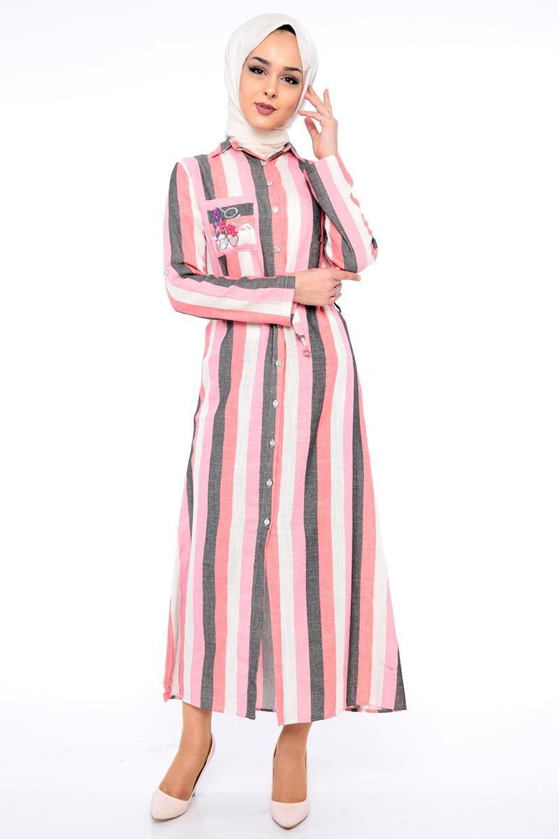 Cizgili Keten Elbise Tsd8917 Ekru Pembe Elbise Moda Stilleri Elbise Modelleri