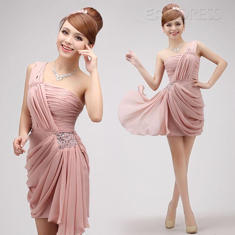 $ 57.19 Chic Short/Mini-Length One-Shoulder Sheath/Column Cocktail Dress