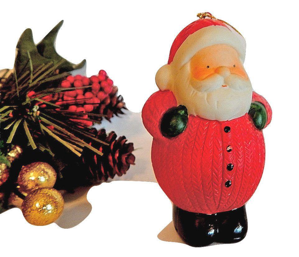 Porcelain Santa Claus Ornament Roly Poly Figurine Vintage Christmas ...