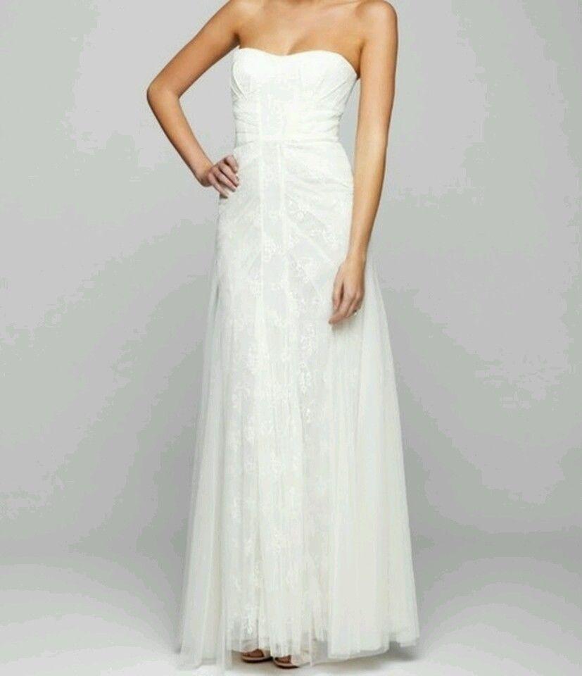 Bcbg Max Azria Moriza Gardenia White Wedding Gown Dress Lace Tulle