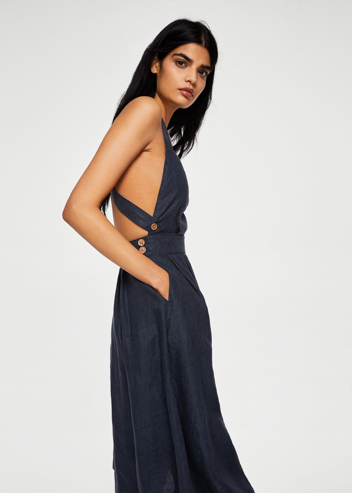 Mango Linen-Blend Midi Dress - Women  e27f55344