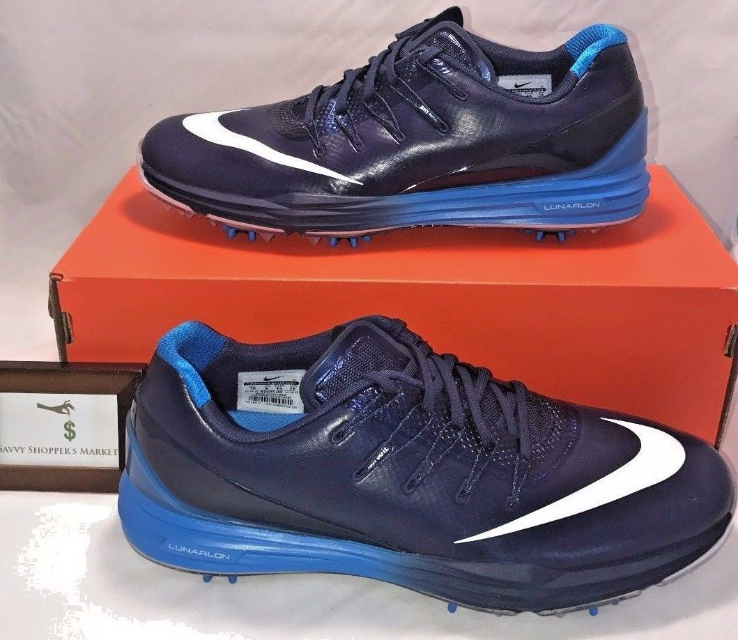 a2ed334fe85136 NIKE MENS SIZE 14 LUNAR CONTROL 4 RORY BLUE WHITE GOLF SHOES SOFT SPIKES NEW