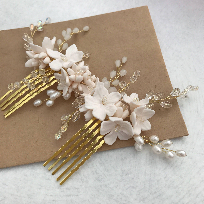 Bridal hair accessories, Flower hair comb, Bridal headpiece, Bridal hair comb, Wedding hair comb, Bridal hair piece, Crystal Headpiece #bridalhair